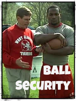 coaching football talking about ball security
