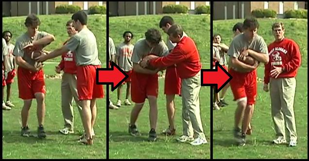 football drill hand-off