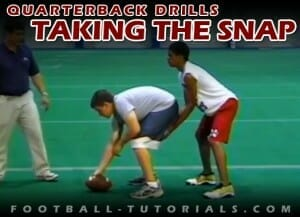 TAKING THE SNAP quarterback drills